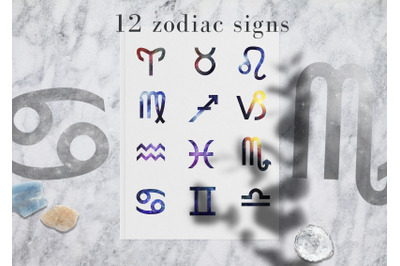 12 watercolor space zodiac signs