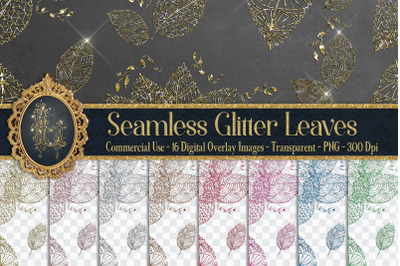 16 Seamless Glitter Leaves Photo Card Overlay Digital Images