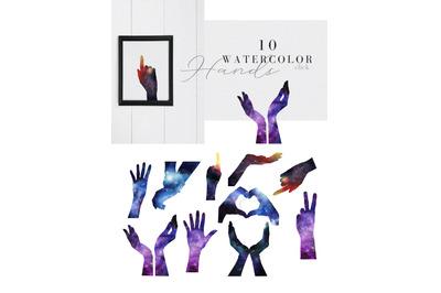 10 watercolor textured hands