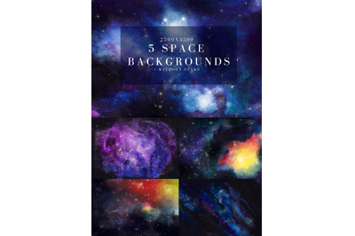 5 hand drawn watercolor Space, Cosmos backgrounds