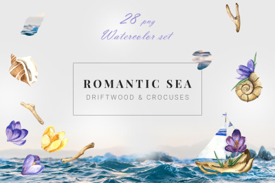 Romantic Sea Summer Watercolor Clipart Set