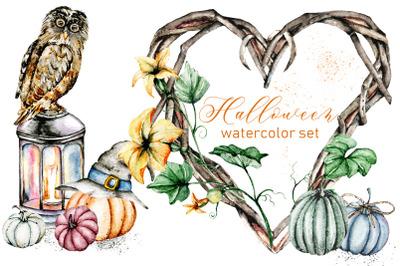 Halloween, autumn set with pumpkins. Watercolor illustrations.