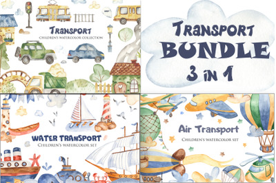 Transport watercolor. Bundle.