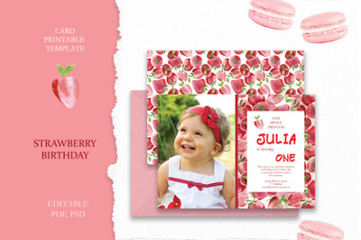 Strawberry Birthday Card  Template