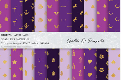 Gold Geometric Seamless Patterns