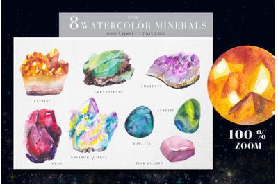 8 watercolor minerals illustrations