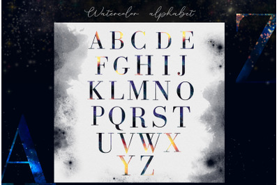 Hand drawn watercolor alphabet font