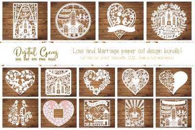 Love and Marriage paper cut design bundle