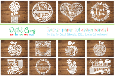 Teacher thank you paper cut bundle