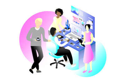 Office workers vector illustration