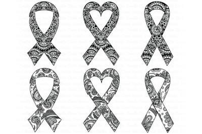 Awareness Ribbon Mandala SVG, Ribbon Cancer SVG