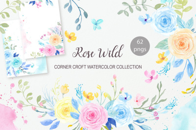 Watercolor Rose Wild Illustration