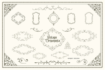 Vintage Ornaments, Frames & Borders