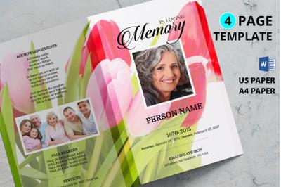 Pink tulip funeral program template