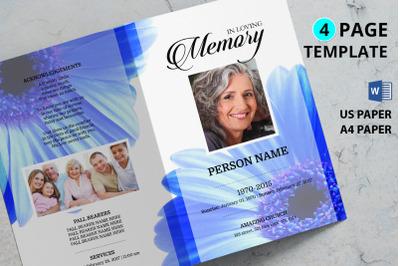 Blue flower funeral program template