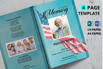 Patriotic funeral program template