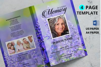 Levendar Funeral Program Template