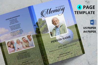 Golf funeral program template