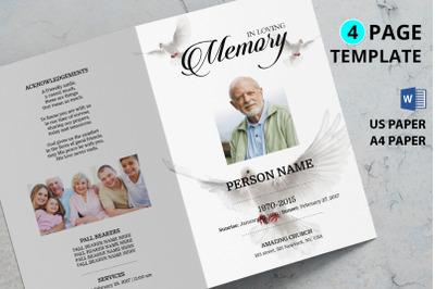 Dove funeral program template