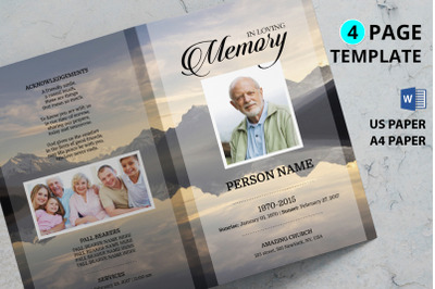 Mountain funeral program template