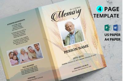 Golden wheat funeral program template
