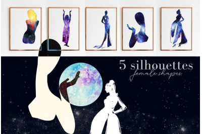 5 hand drawn watercolor Space, Cosmos woman shapes