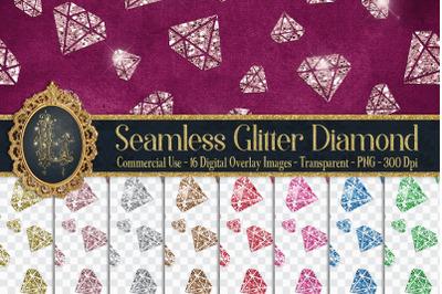 16 Seamless Glitter Diamond Wedding Overlay Digital Images