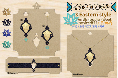 Eastern style acrylic leather wood jewelry kit 14