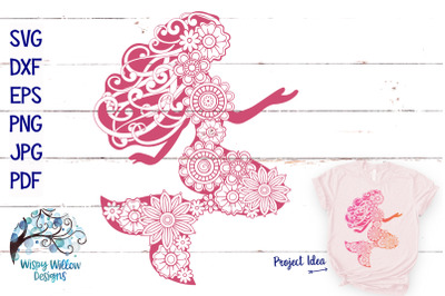 Floral Mermaid SVG Summer Cut File