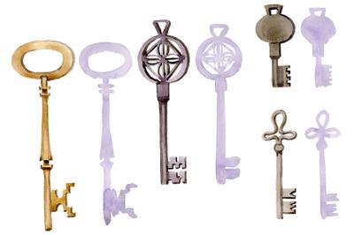 Vintage key magic watercolor png