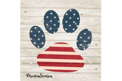 Dog Paw Wooden USA Flag Sublimation Design PNG