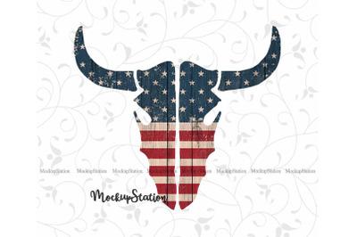 Longhorn Sublimation Design PNG, Cow Skull 4th of July Patriotic