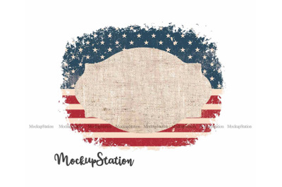 USA Flag Sublimation Frame PNG, 4th July Background Template