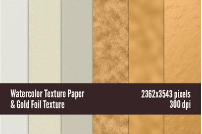 Watercolor Texture Paper & Gold Foil Texture
