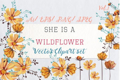She is wildflower, vector Clip Art 1
