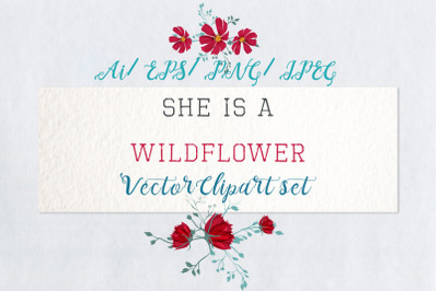 She is wildflower, vector clip art 2