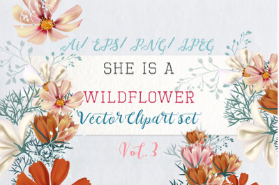 She is wildflower, vector clip art 3