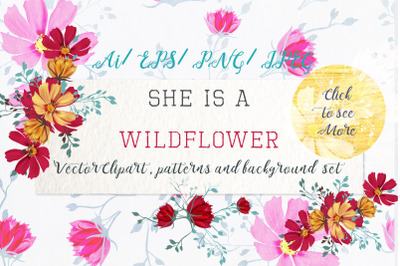 She is wildflower vector clipart set