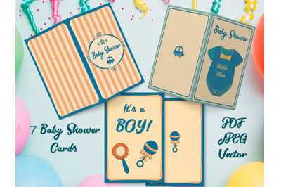 Baby Boy Shower Cards Printable, PNG, PDF, Vector