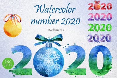 New year 2020 watercolor