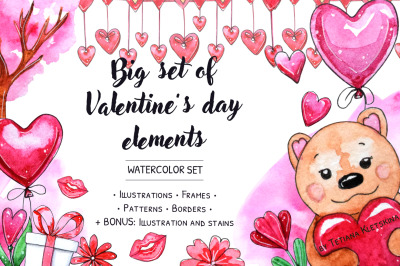 Big set of Valentine's day elements