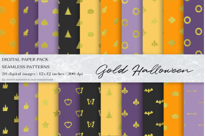 Gold Halloween Digital Papers