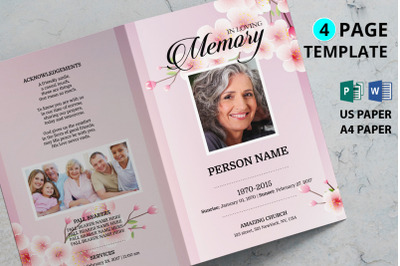 Cherry blossom funeral program template