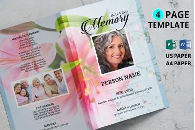 Pink flower funeral program template
