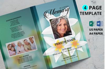 White flower funeral program template