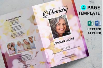 Pink orkit flower funeral program template