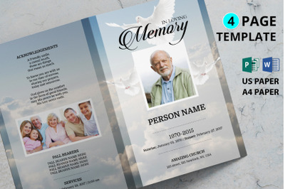 Dove and sky funeral program template