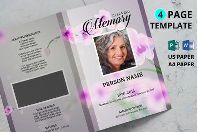 Orkit flower funeral program template