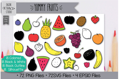 72 Fruit Doodles Hand Drawn Illustrations Bundle