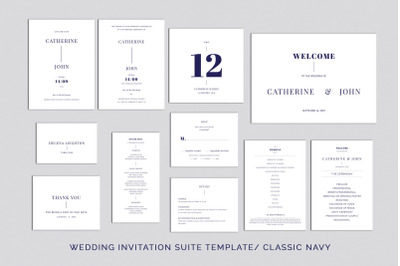 Wedding Template Suite, An Invitation Pack Classic Navy